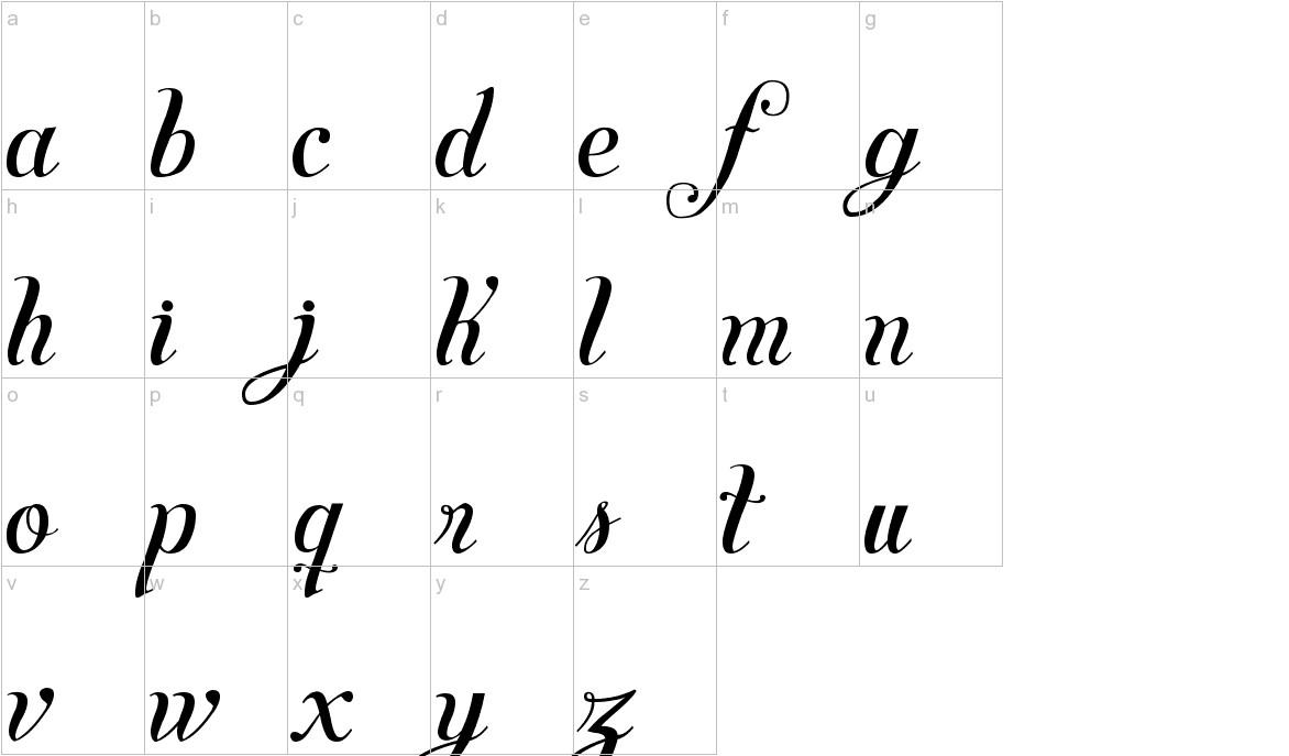 Symphony Script - lowercase