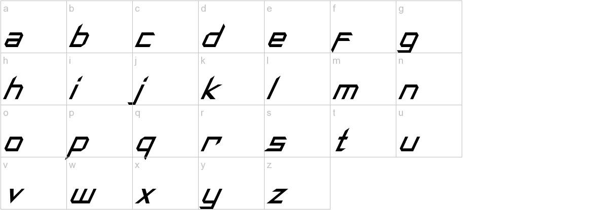 Synthetic Sharps Italic lowercase
