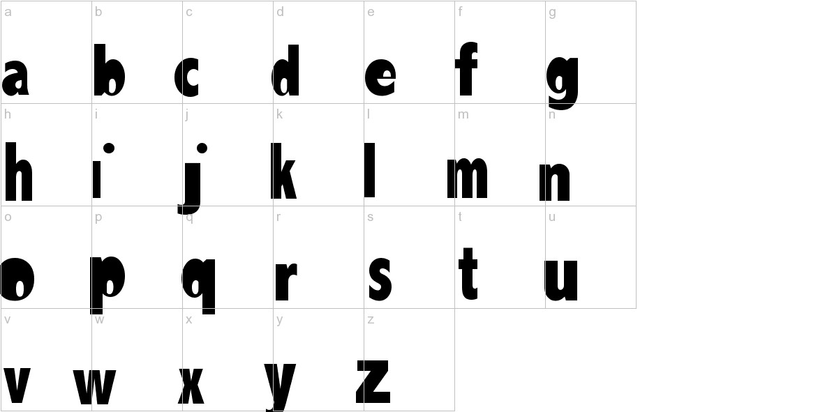 Abadi MT Condensed Extra Bold lowercase