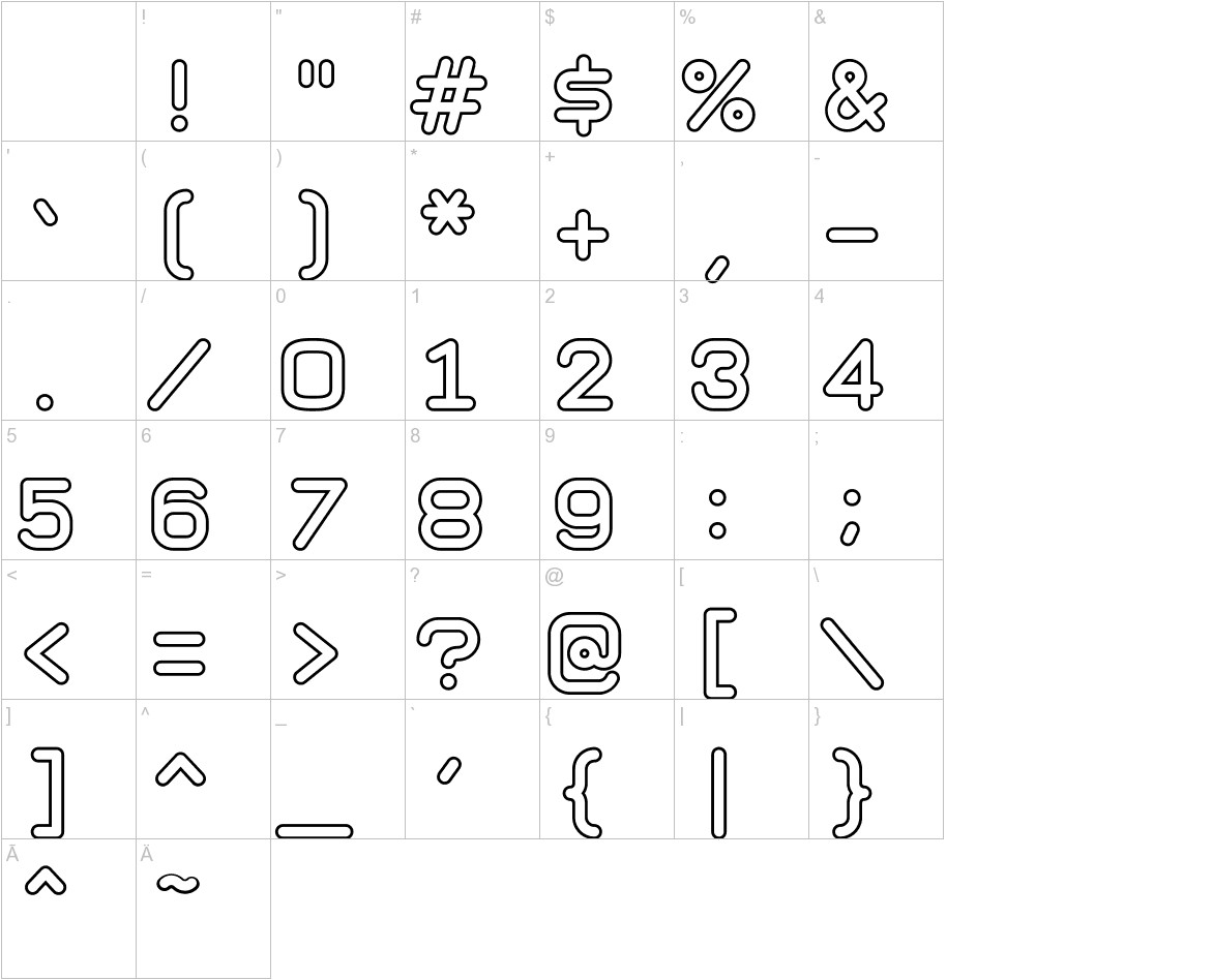 Taurus Mono Outline Bold characters