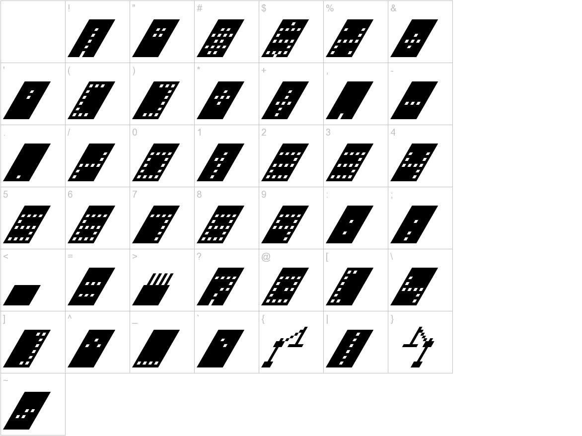 Tower Block Italic characters