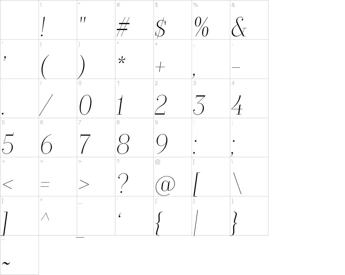 TT Moons Thin Italic characters