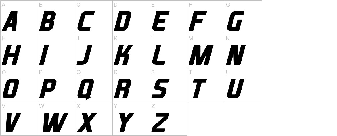 XBall Italic uppercase