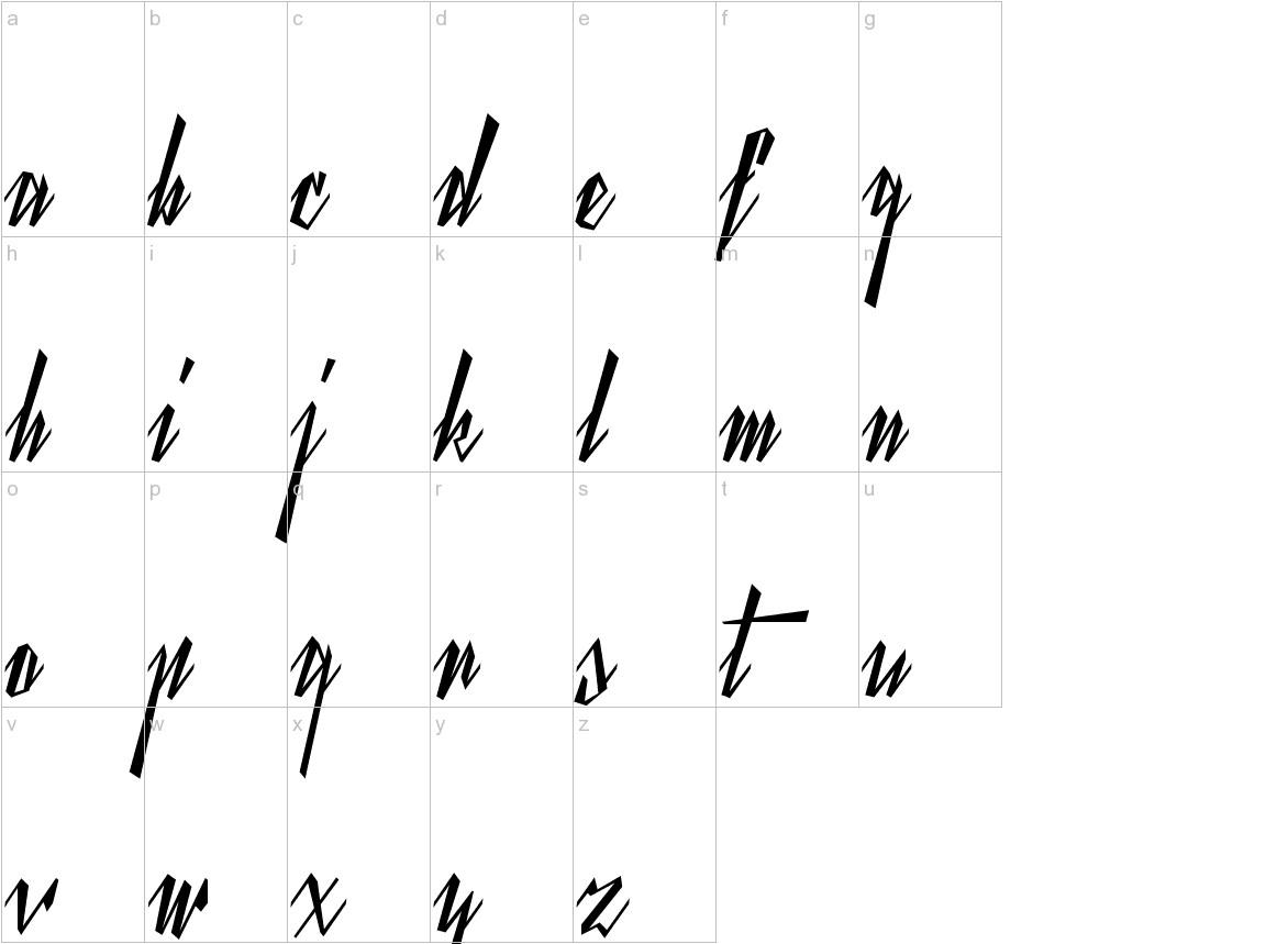Yanty Script lowercase