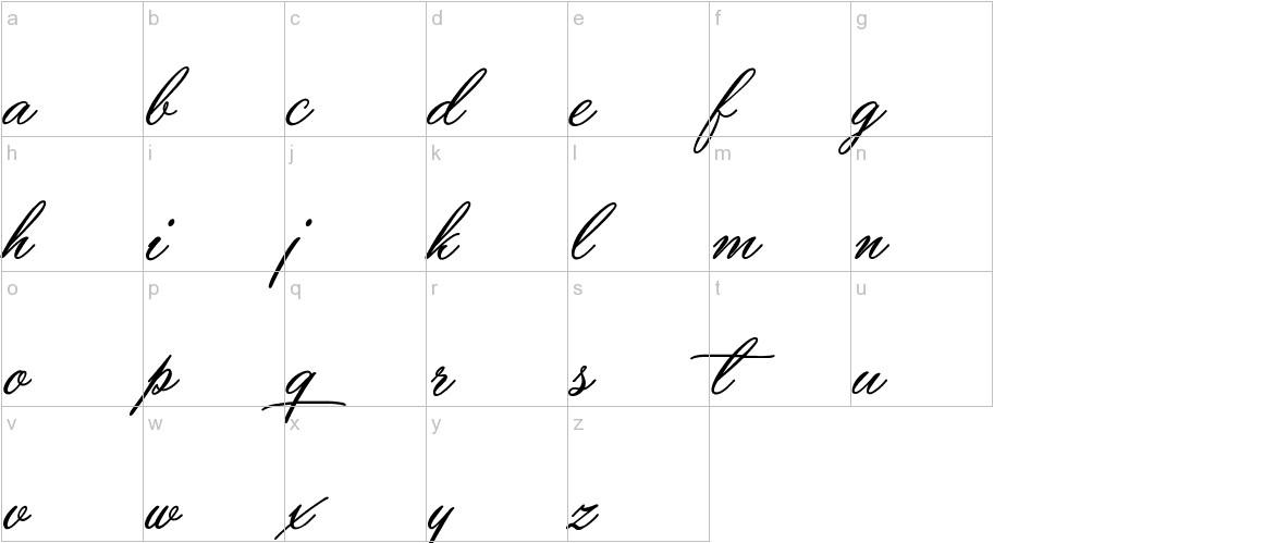 Yaquote Script lowercase