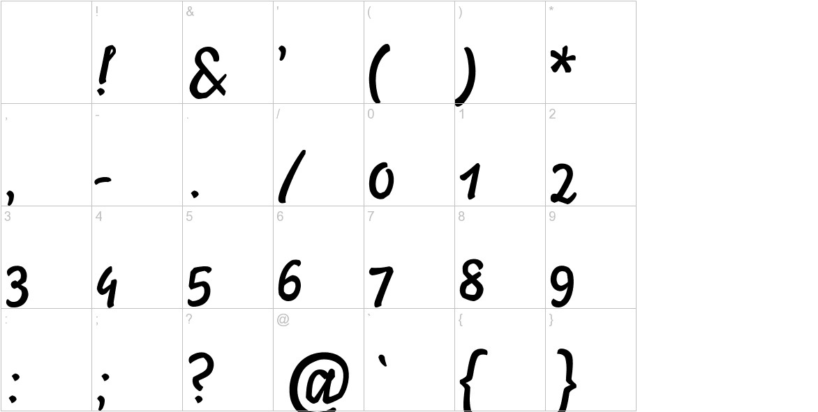 Ylvie script bold Italic characters