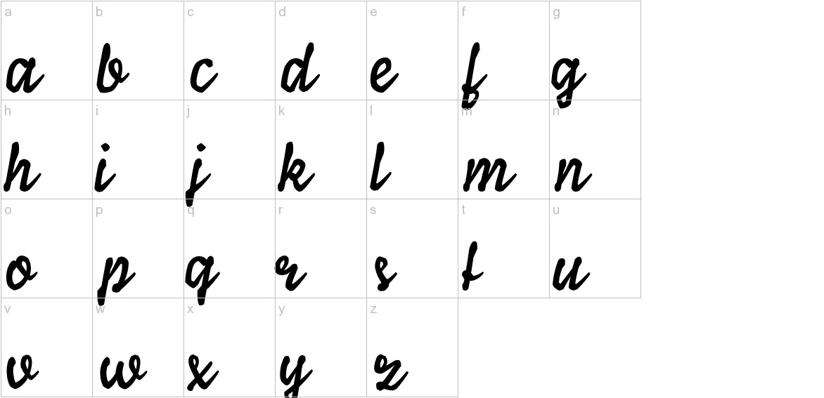 Ylvie script bold Italic lowercase