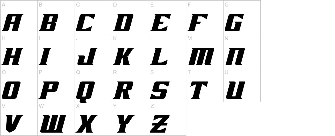 Zarathos Bold Italic uppercase