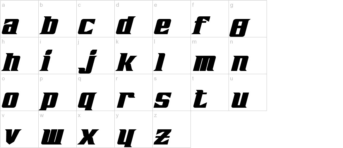Zarathos Bold Italic lowercase