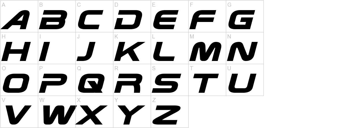 Zebulon Bold Italic uppercase