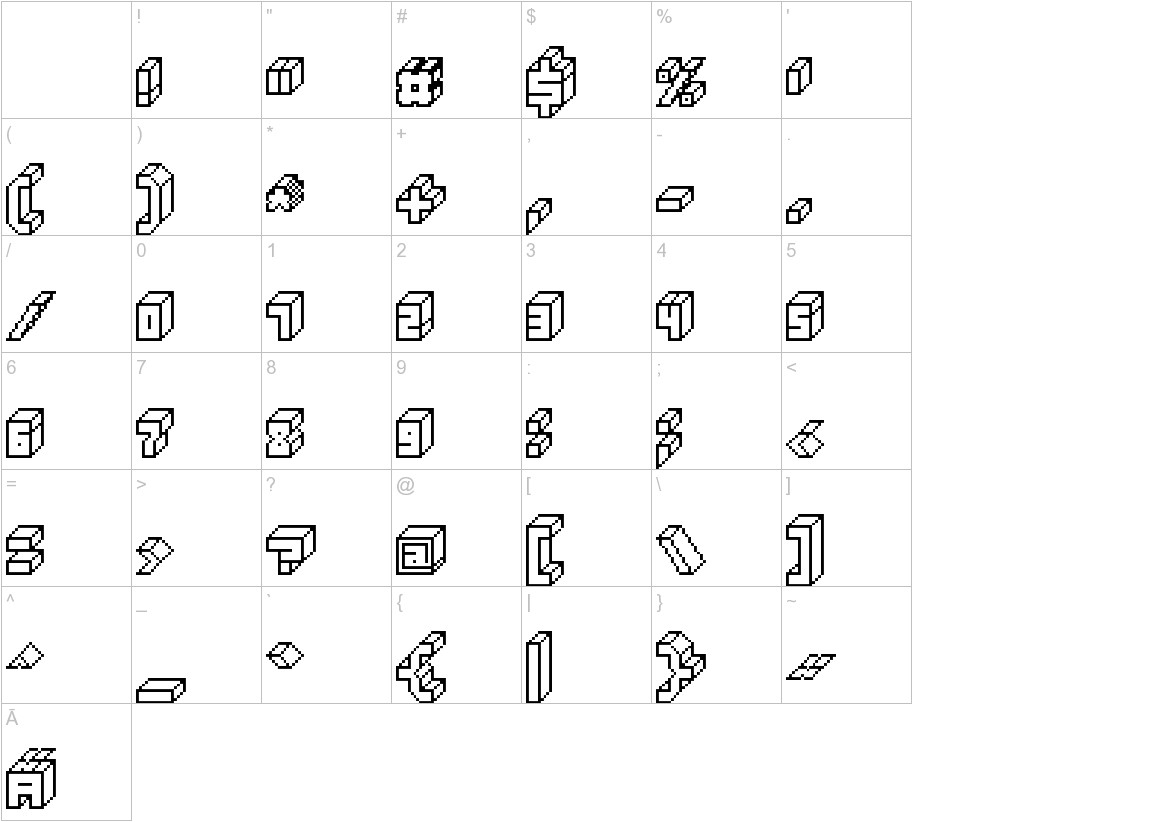 3D Thirteen Pixel Fonts characters