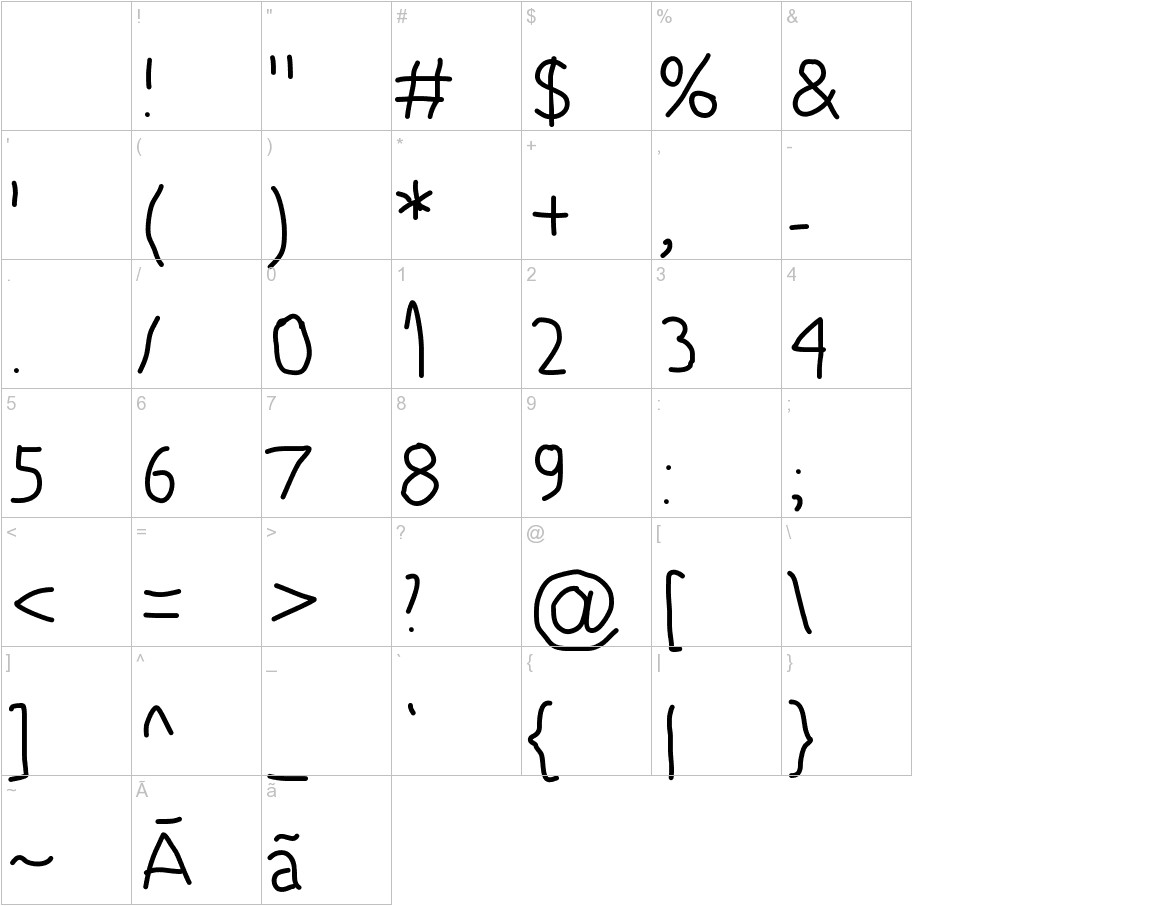 5yearsoldfont characters
