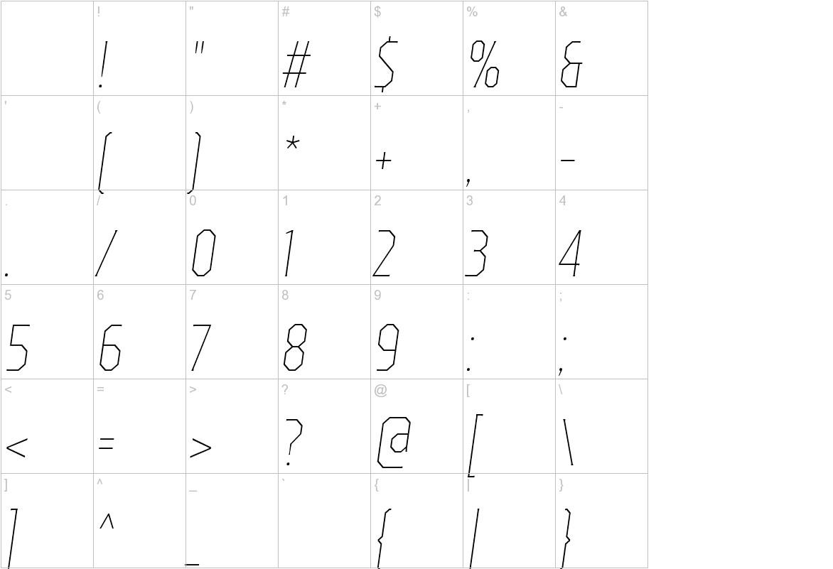 TT Octas Thin Italic characters