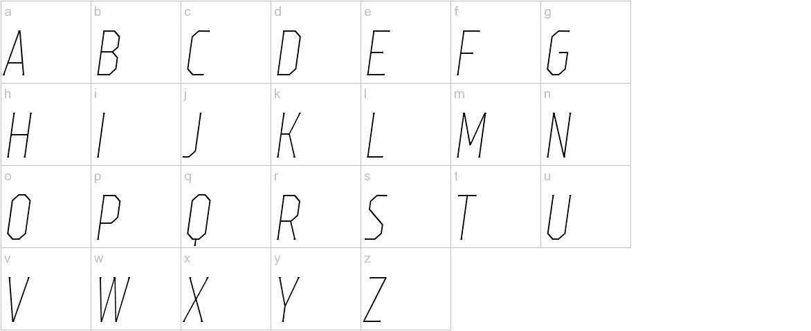 TT Octas Thin Italic lowercase