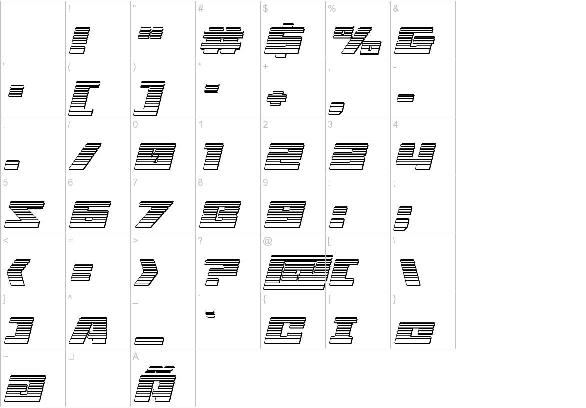 Turbo Charge Chrome Italic characters