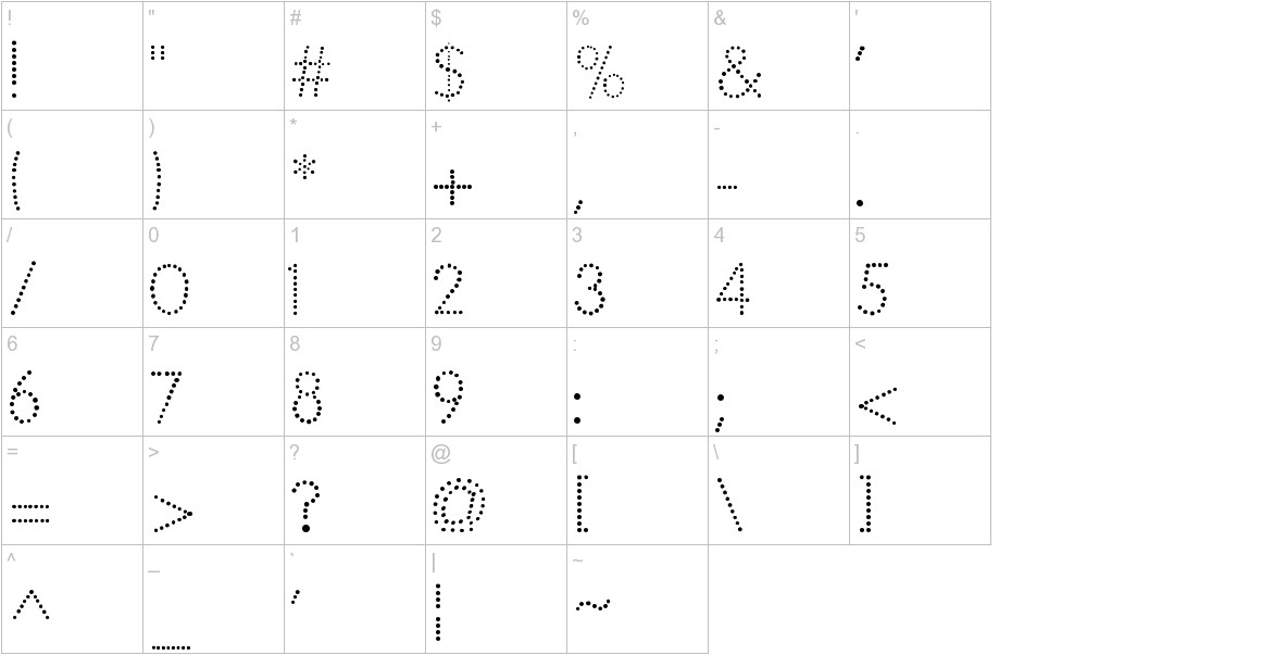 National First Font Dotted characters