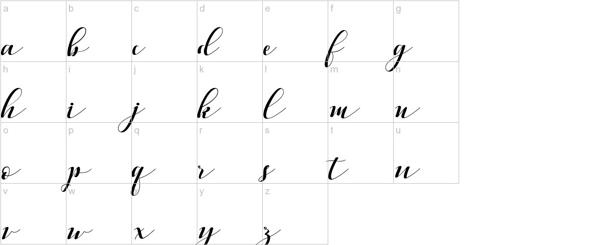 Vellesa Script lowercase