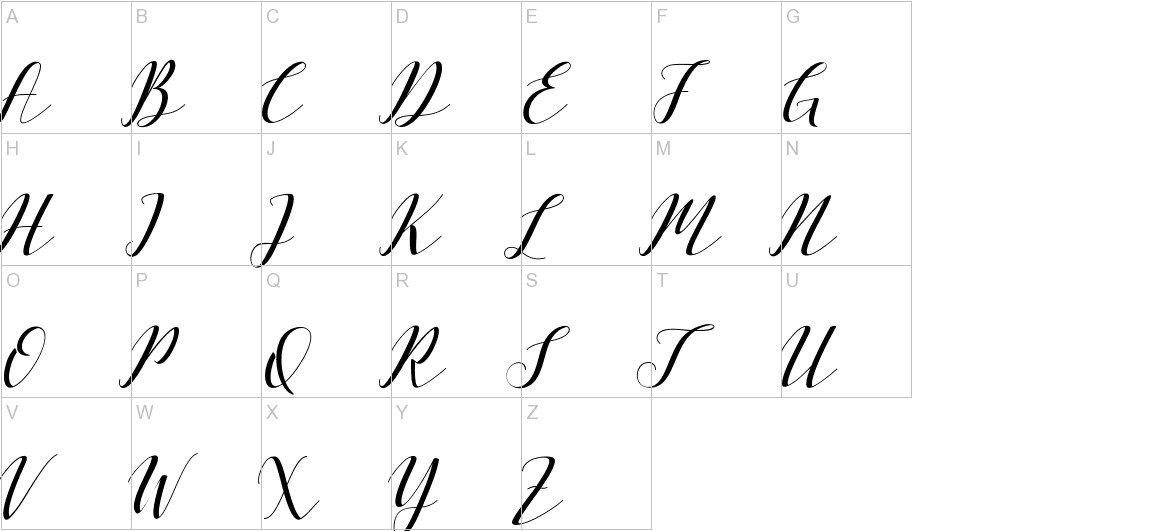 Vellesa Script uppercase