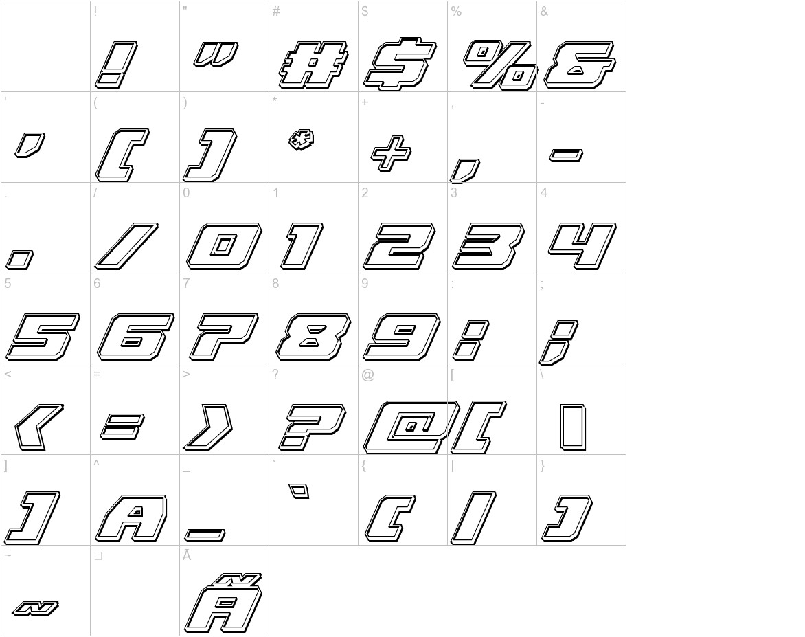 Cruiser Fortress Engraved Italic characters