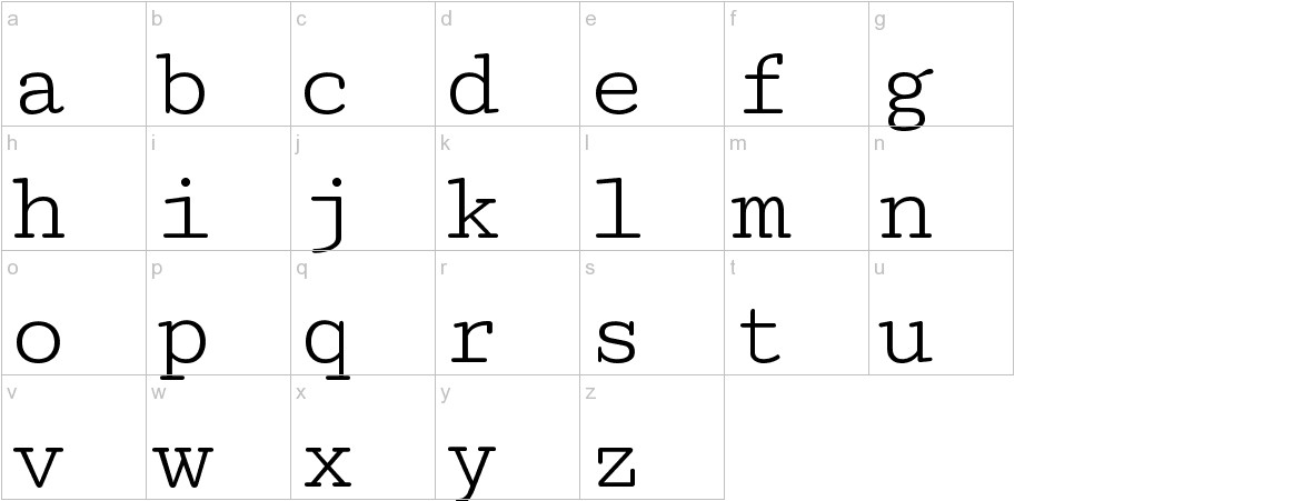 Cutive Mono lowercase