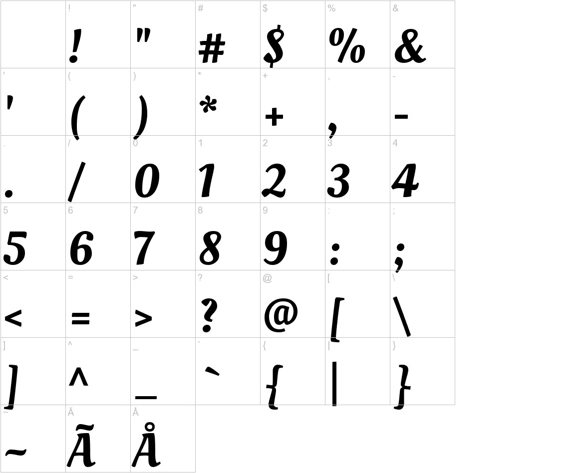 Oleo Script characters