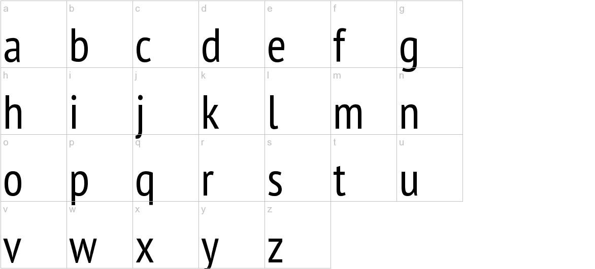 PT Sans Narrow lowercase