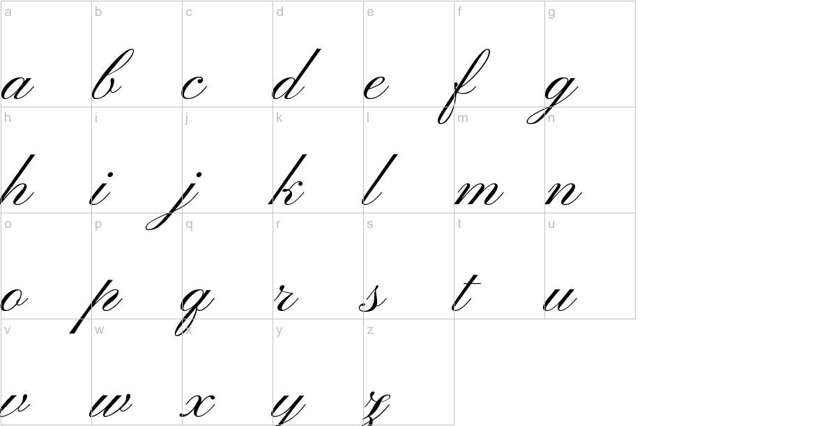 Pinyon Script lowercase