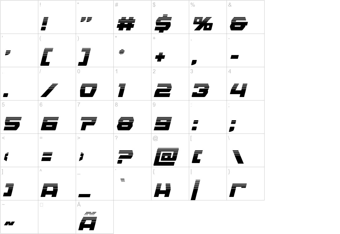 Olympic Carrier Halftone Italic characters