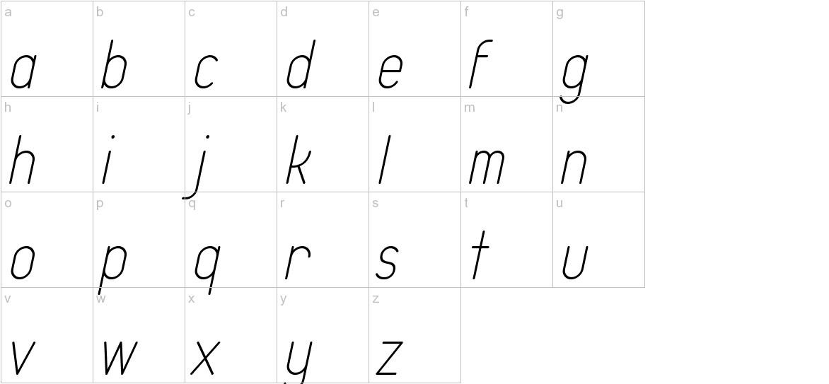 Typo Quik Thin Demo Italic lowercase