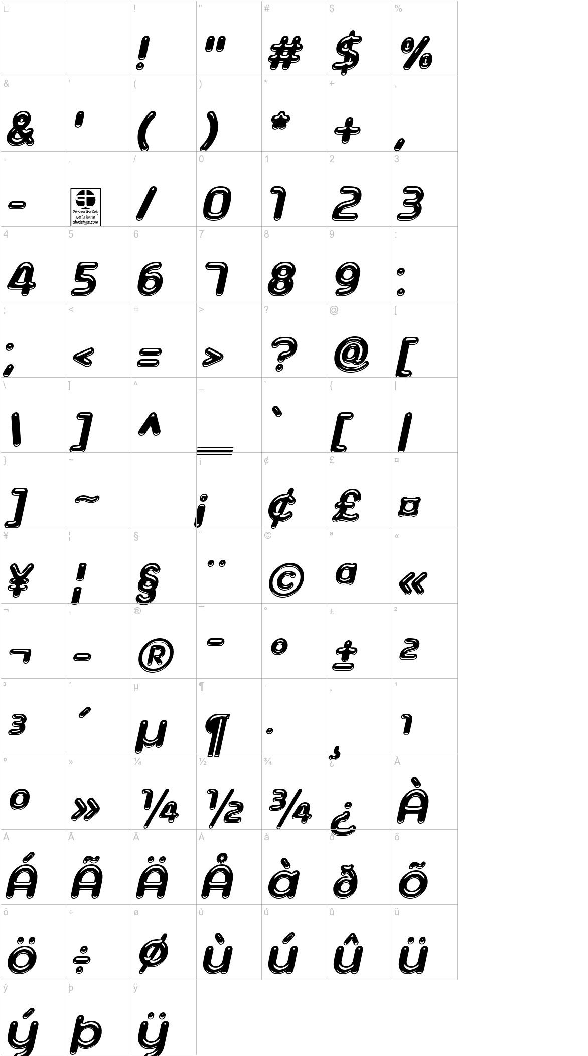 Ageta Chubby Demo Italic characters