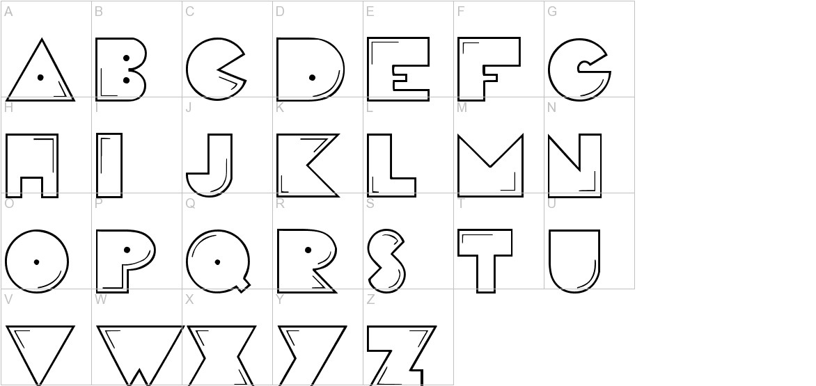 PacFont uppercase