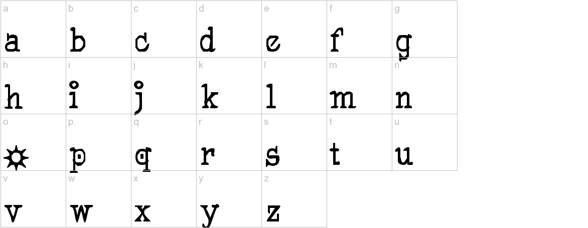 Pegyptienne lowercase