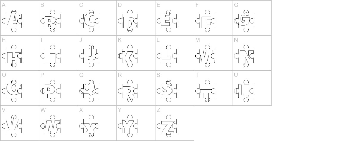 Puzzle Pieces Outline uppercase