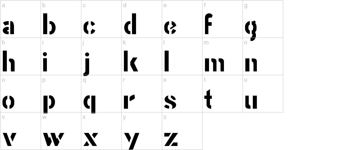 Stencil Gothic JL lowercase