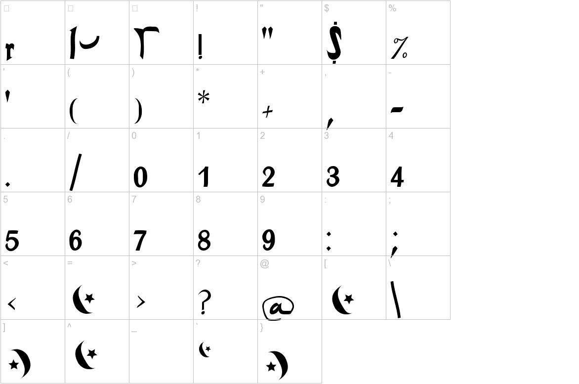 ArabDancesMediumItalic characters