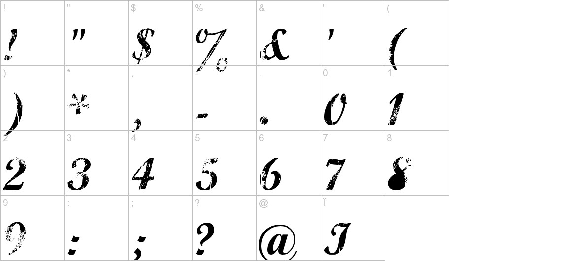 Marcelle Script characters