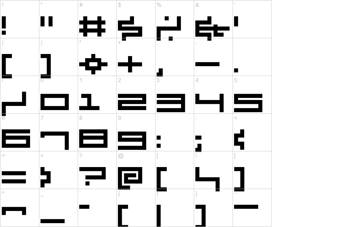 V5 Cuadra2 Thick characters