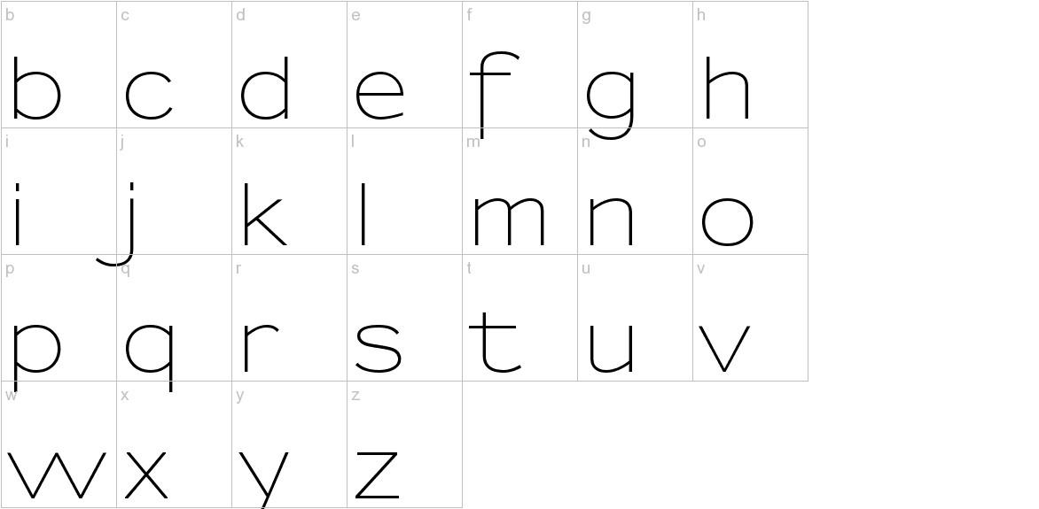 Sansumi-Regular lowercase
