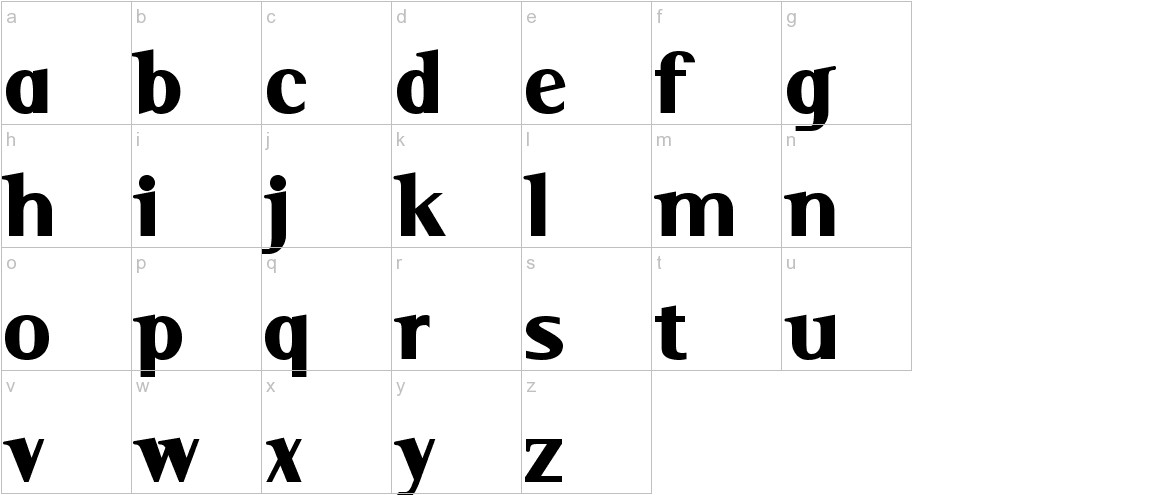 Serif Black lowercase