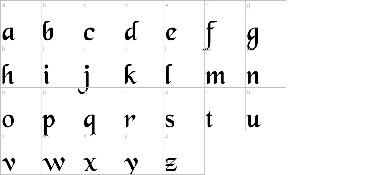 BlackChancery lowercase
