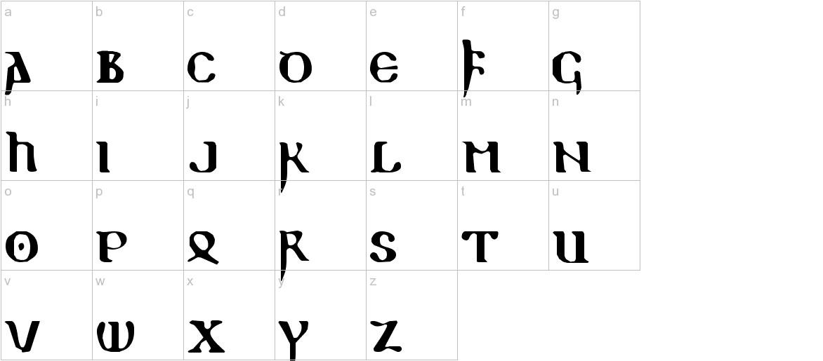 ReadableGothic lowercase