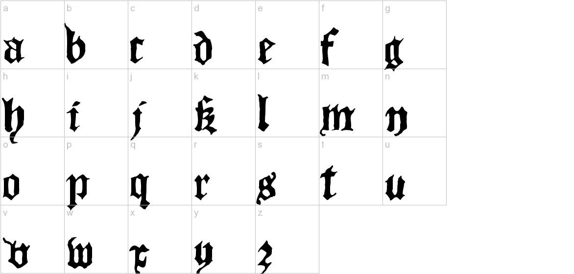 Blackletter HPLHS lowercase