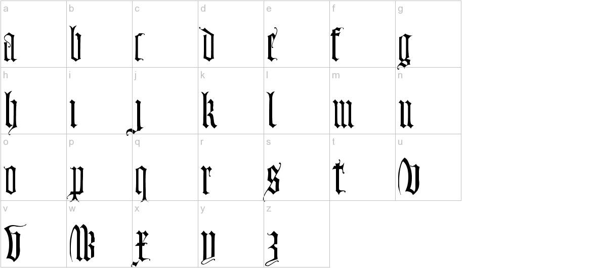 Monumental Gothic lowercase
