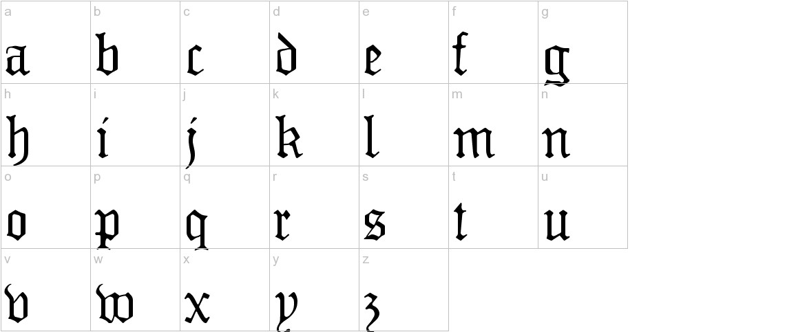 MonAmourFrakturRegular lowercase